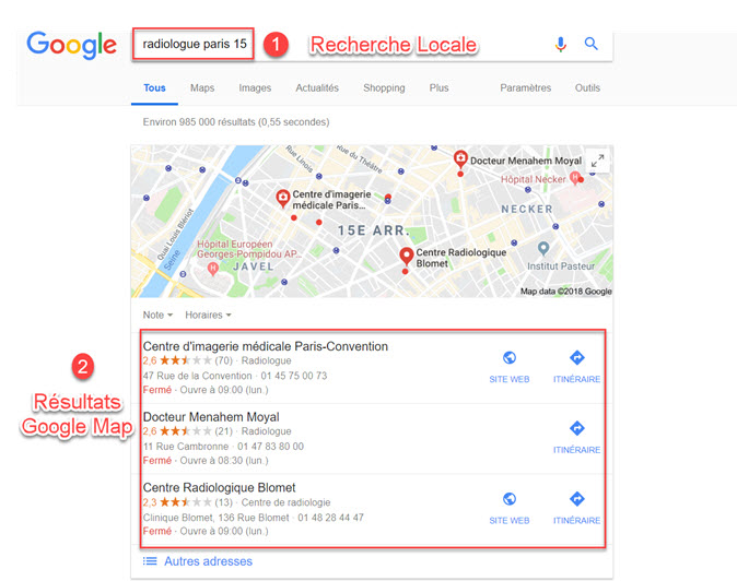 Résultats Google Map referencement local