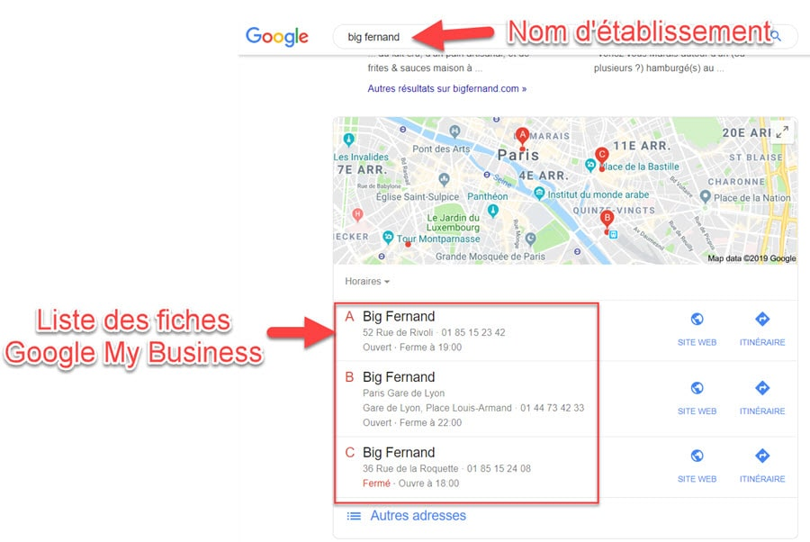 Fiches Google My Business chaine de magasin
