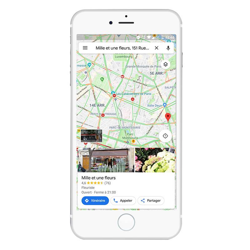 Apparence d'une fiche Google My Business sur Google Map