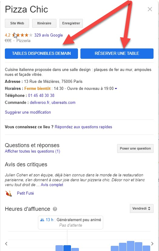 module de reservation Google My Business