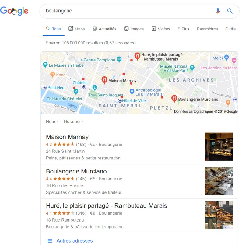 requete generique pack local google